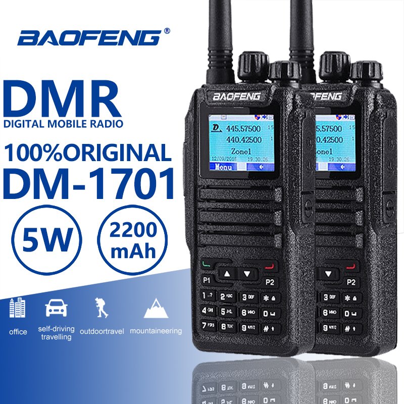 2pcs Baofeng DM-1701 Digital Mobile Radio Dual Time Slot Tier1 Tier2 DMR Ham Radio Hf Transceiver Hunting Walkie Talkie CB Radio