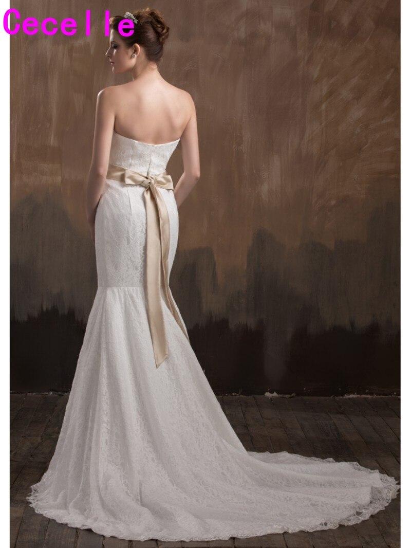 Einfache Lange Mermaid Vintage Spitze Brautkleider Mit Champagner ...