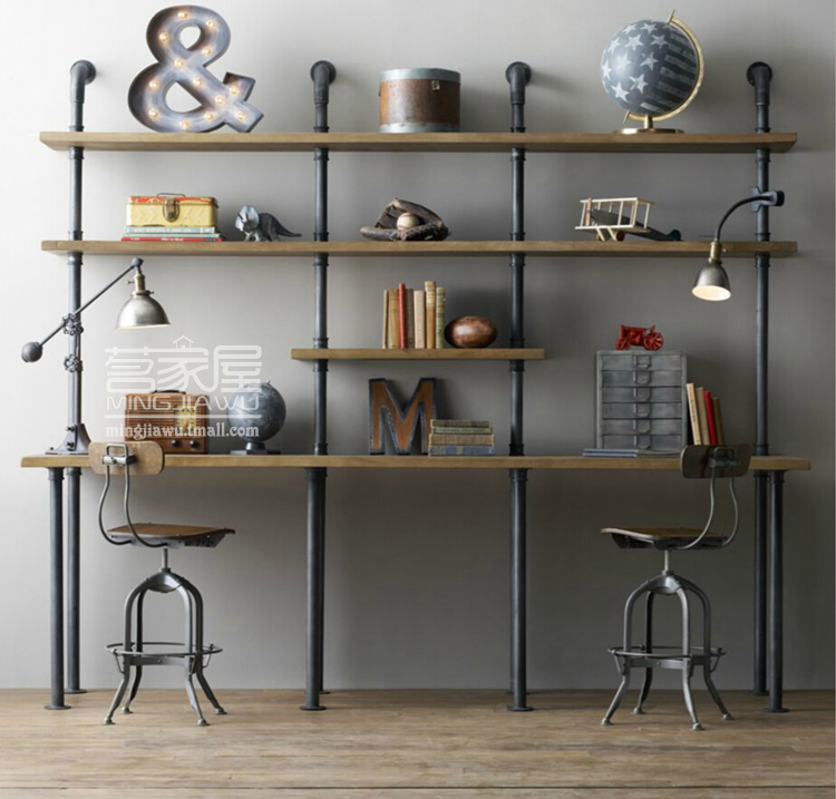 American retro wood wrought iron shelves computer desk conjoined