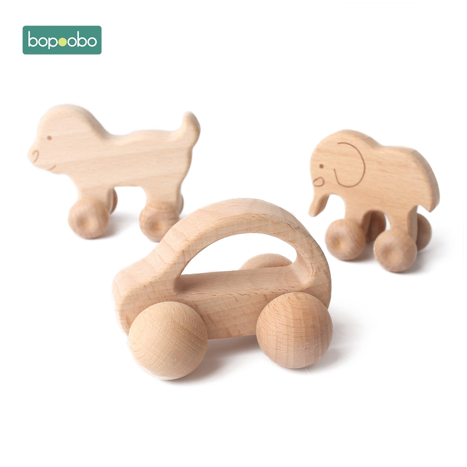 Bopoobo 1pc Leopard Car Wooden Teether Animal Car Ecofriendly Baby Crib Toy Wooden Baby Accessories Wooden Teether Toys