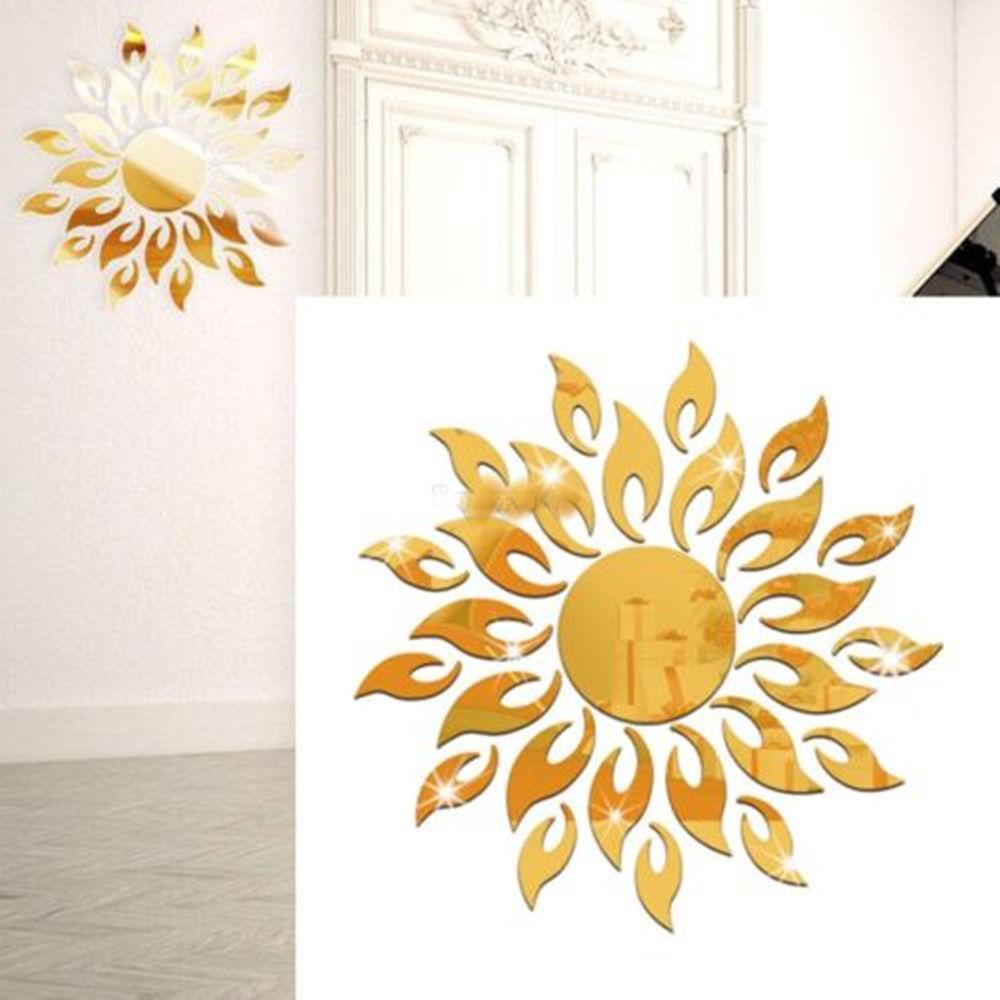 creativa sol sol girasol fuego efecto espejo etiqueta de la pared d arte mural diy etiqueta