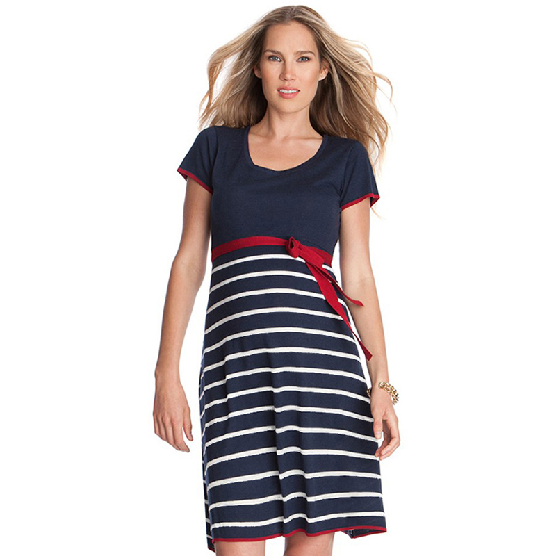 Summer Short Sleeve O-neck Loose Striped Maternity Dress Pregnancy Vestidos for Pregnant Women Lycra Blue Casual Mommy Dresses women formal dresses for work elegant office pencil bodycon short sleeve turn down collar with belt dark blue summer dress