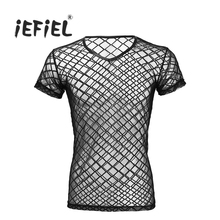 iEFiEL Fashion Mens V-Neck See-through Mesh Short Sleeve T-shirt Top Clubwear Wetlook Undershirt for Men's Tees Male Clothing