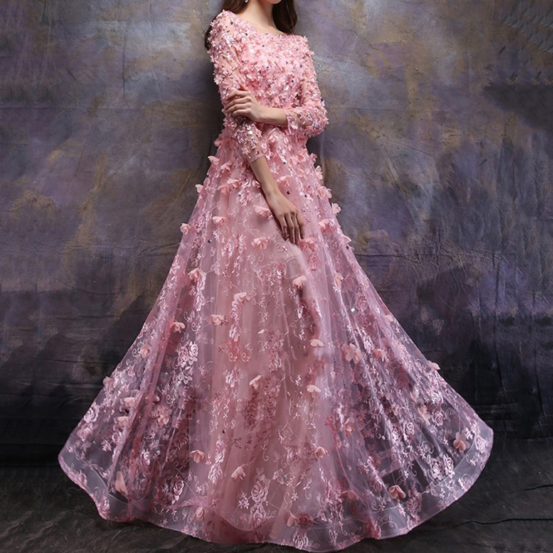 Elegant Boat Neckline Long Sleeves Evening Gown Pink Lace Flowers Formal Prom robe de soiree Floor Length Wedding Party Dress