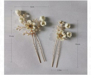 Image 5 - Jonnafe Delicate Wedding Hair Jewelry Porcelain Flower Bridal Hair Comb Pins Handmade Women Prom Headpiece