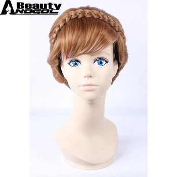 ANOGOL BEAUTY Hair Cap+ High Temperature Fiber Double Braids Long Natural Brown Mix Blonde Anna Updo Synthetic Cosplay Wig