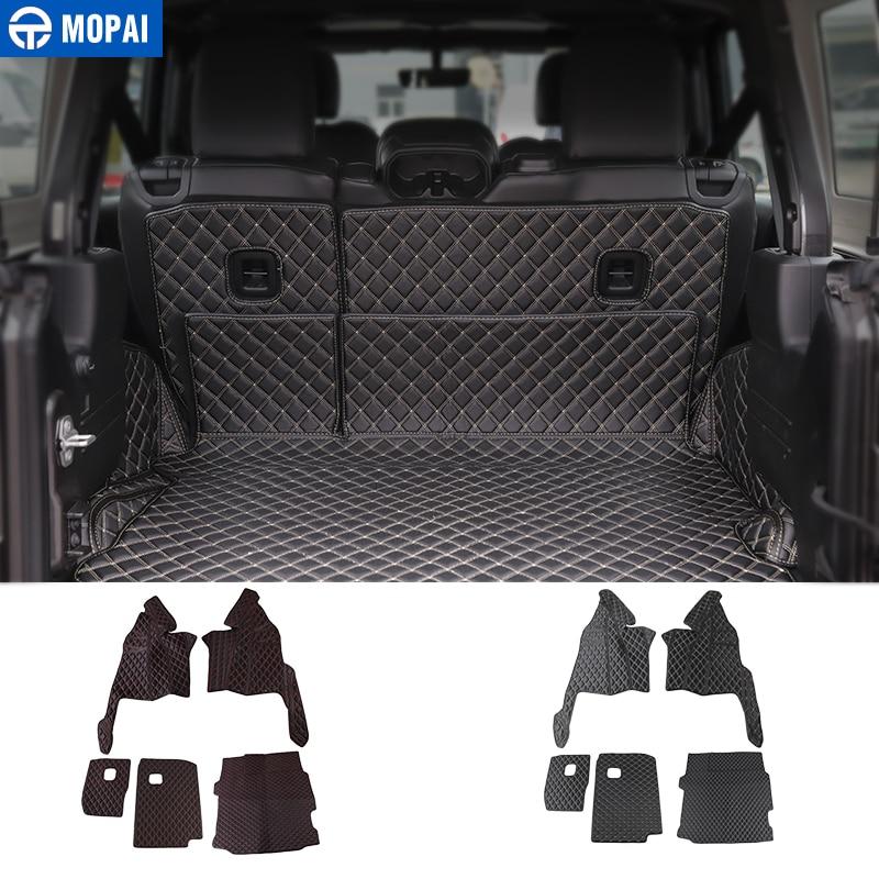 MOPAI Floor Mats for Jeep Wrangler JL 2018 Leather Car Rear Trunk Mats Pads Cargo Liner