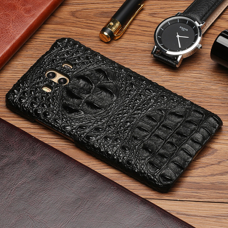 Original cowhide Phone Case For Huawei Mate RS 9 10 Pro P8 P9 P10 P20 Lite Crocodile skull texture For Honor Note 10 7X P Smart
