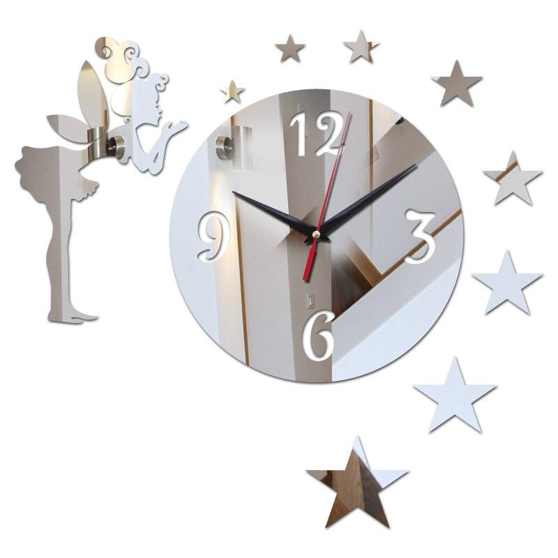 top fashion 2017 3d diy acryl spiegel verkauf wanduhr uhren uhr horloge modernes design wohnzimmer stillleben freeshipping - Designwohnzimmer