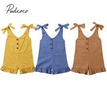 Г. Летняя одежда для малышей Детский комбинезон на лямках для маленьких девочек цельнокроеный комбинезон без рукавов с оборками и поясом, От 1 до 6 лет
