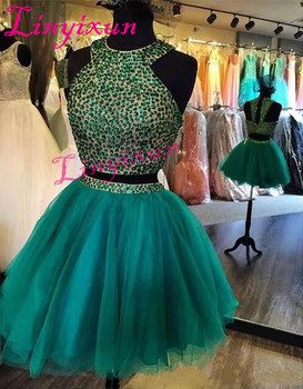 Modern Two Pieces Short Beaded Homecoming Dresses 2018 Sexy Short Mini Cocktail Party Prom Gowns Hot Cheap Sale