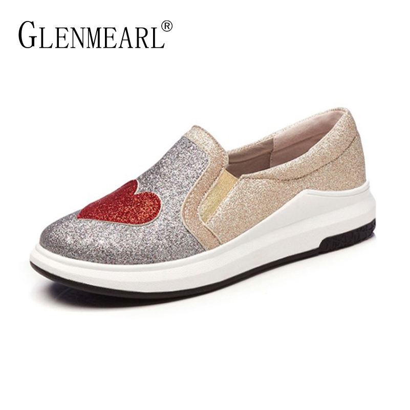 New Women Loafers Flat Platform Shoes Spring Brand Woman Casual Sneakers Thick Heels Bling Plus Size Female Lazy Shoes Flats DE women flats shoes woman spring glitter casual loafers black golden bling glitter flats lazy shoes size 36 40