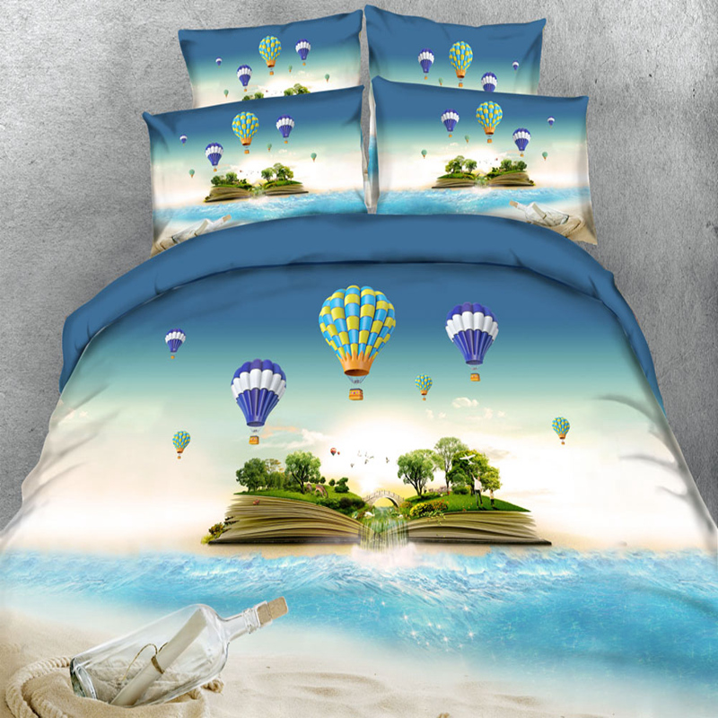 Hot Air Balloon Flying In The Sky 3d Bedding Set Duvet Cover Sets European Style Adults