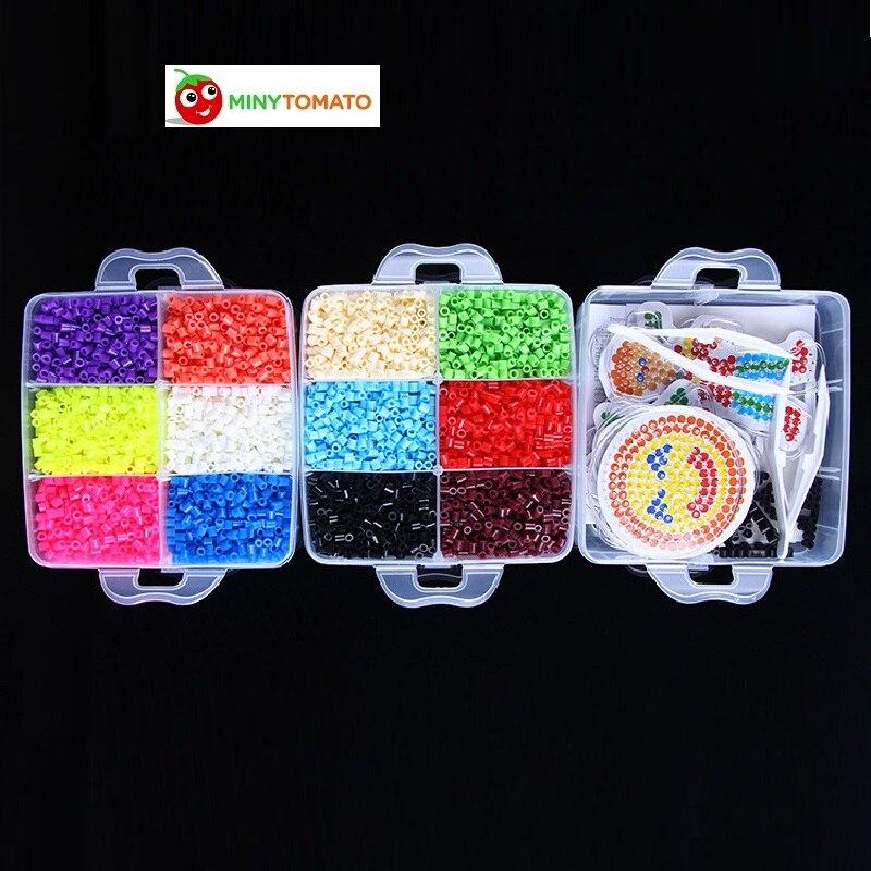 Livraison Gratuite Perler Perles 9000 pcs boîte ensemble de 5mm Hama perles Fusible Perles 6 Modèle + 6 Fer Papier + 3 Pince À Épiler jigsaw puzzle bricolage jouet