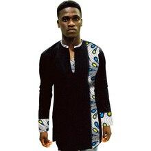 African Print Shirt Mens Dashiki Shirts Ankara Top Black & Multi Coloured Clothing Africa Designed Outfit