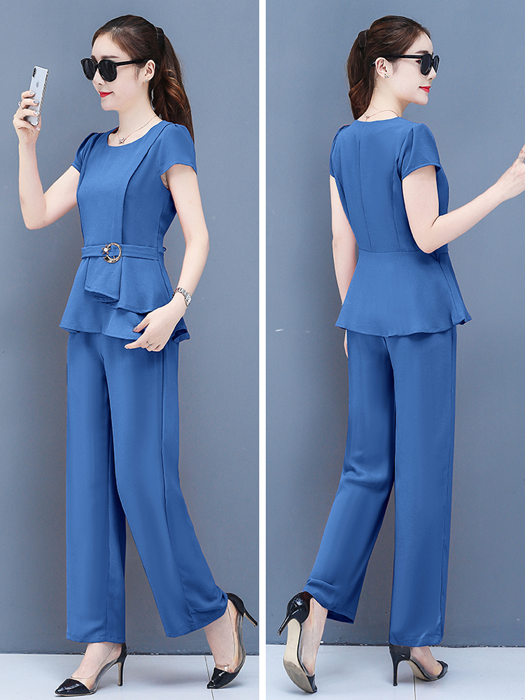 2019 Summer Chiffon 2 Two Piece Sets Outfits Women Plus Size Short Sleeve Tunics Tops And Pants Suits Office Elegant Korean Sets 65