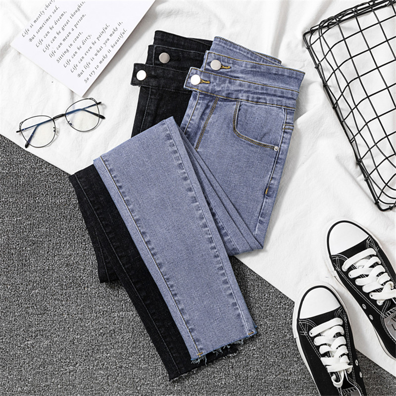 JUJULAND Vintage Mom Fit High Waist Jeans Elastic Femme Women Washed Blue Denim Skinny Jeans Classic Pencil Pants 8018