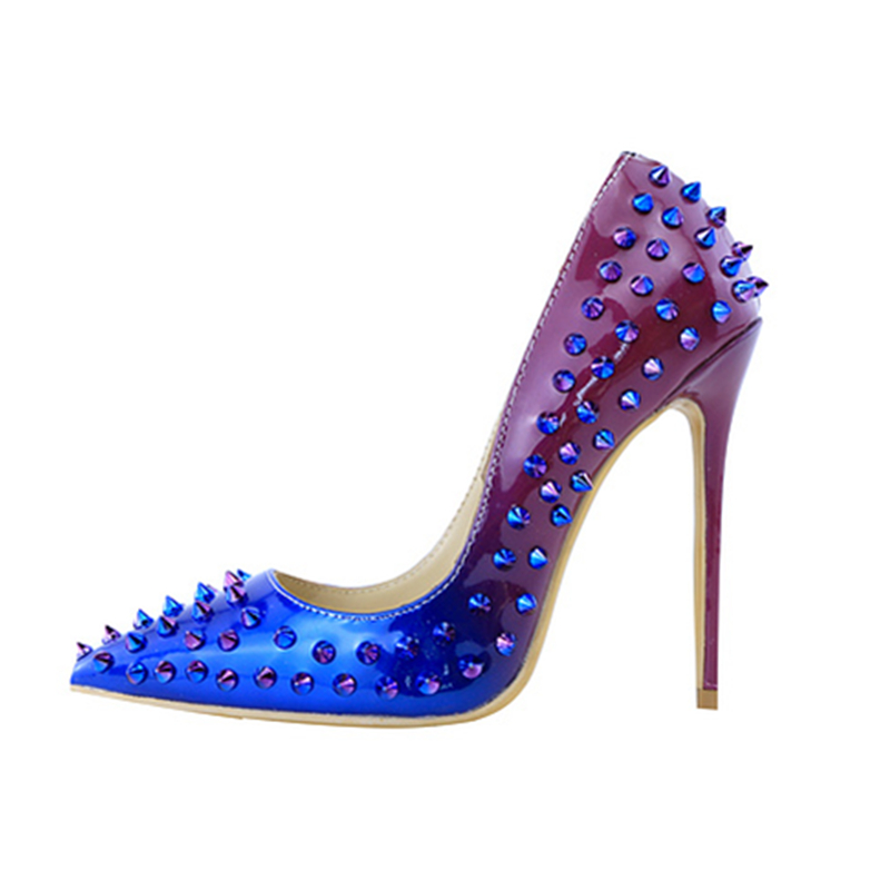 Hanbaidi Luxury Women Designer Shoes High Quality Brand Spikes 120mm Blue Degrade Patent High Heels Pumps Evening Dress Shoes