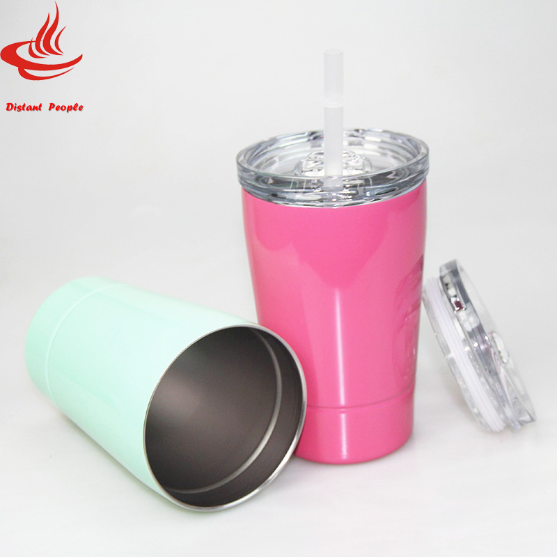 12oz Stemless Wine Tumblers Portable Vacuum Insulated Beer Mug Stainless Steel Travel Mug Coffee Cup With Lids and Straw