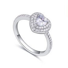 2016 Fashion Luxury Women Engagement Jewelry 925 sterling Silver Cubic Zirconia Crystal Zircon Female Wedding Finger heart Rings