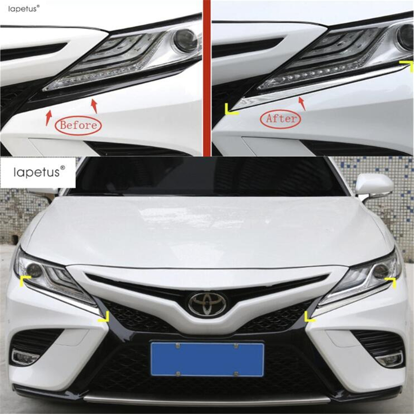 Hospitable Lapetus Accessories Fit For Toyota Xv70 Camry 2018 2019 Abs Chrome Front Head Lights Lamp Eyelid Eyebrow Strip Cover Trim Activating Blood Circulation And Strengthening Sinews And Bones Auto Replacement Parts