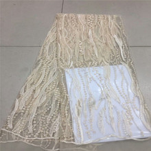 High Quality French Mesh Lace Fabric 2018 Latest African Appliqued Lace Fabric With Handmade Beads For Wedding Dresses XC62