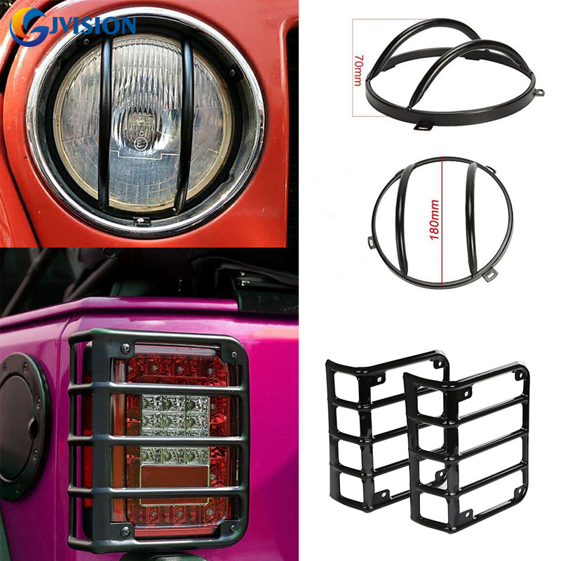 For 2007 - 2016 Jeep Wrangler JK Black Light Guard 4 Pieces Kit For Front Headlights  and Rear Taillights Cover left hand a pillar swith panel pod kit with 4 led switch for jeep wrangler 2007 2015