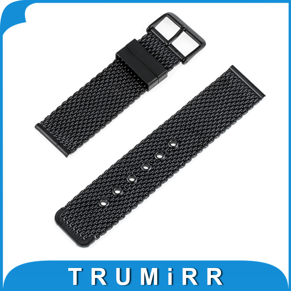 24mm Milanese Watch Band + Tool for Sony Smartwatch 2 Stainless Steel Watchband Strap Wrist Belt Bracelet Black Silver 24mm genuine leather watchband for sony smartwatch 2 sw2 smart watch band wrist strap plain grain belt bracelet tool black