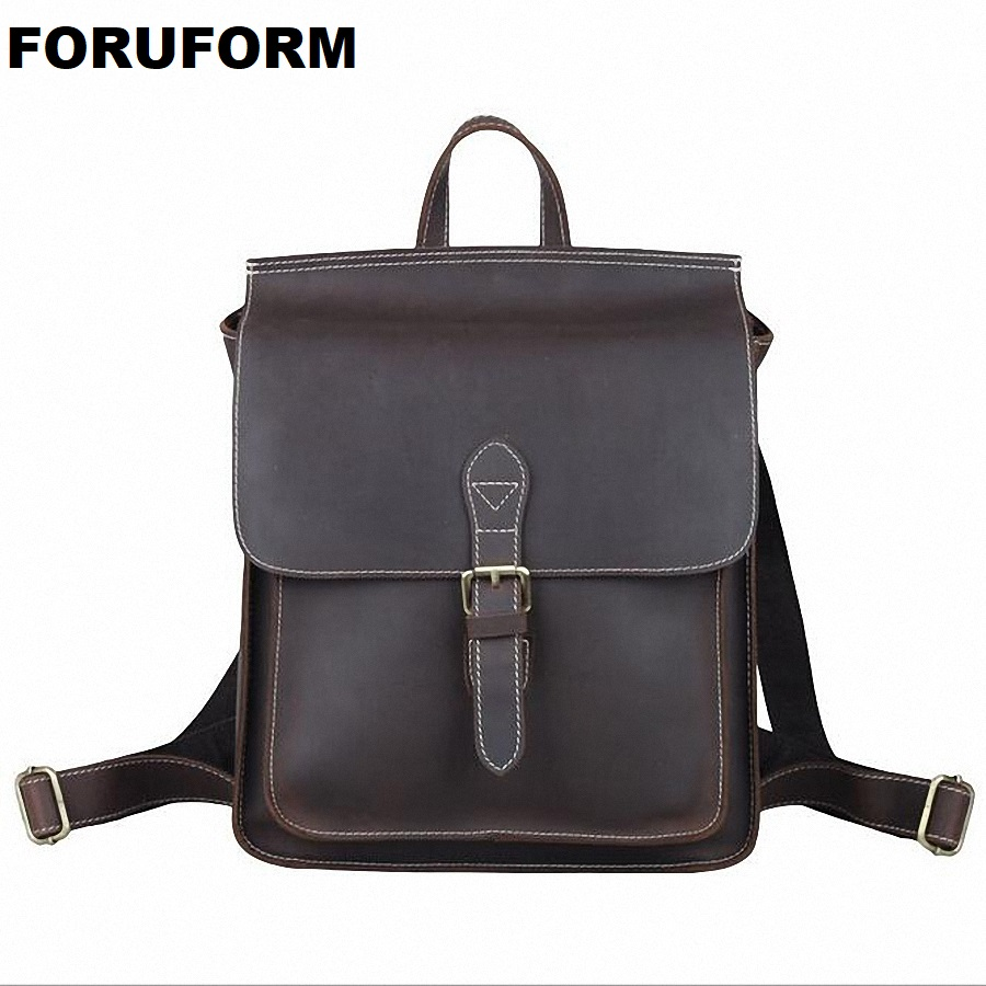 Famous Brand Men Backpacks Genuine Leather Fashion Bag Women Backpack School IPAD Bag Travel men's Backpacks Men Bags LI-1468 swdvogan new travel backpack korean women rucksack pocket genuine leather men shoulder bags student school bag soft backpacks