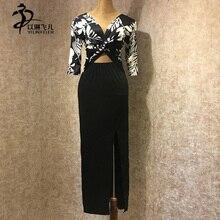 Latin dance sides-split high-waisted short sleeve lengthening skirt Rumba dress