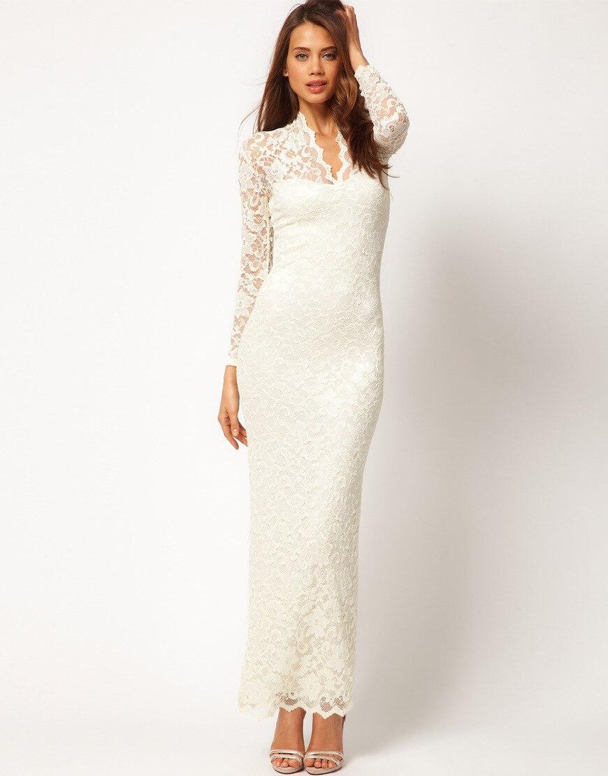 Women's Cream Scalloped V neck Lace Wedding Maxi Dress Bodycon ...
