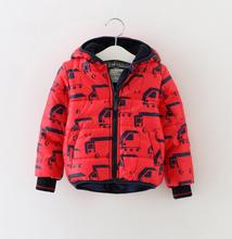 New Boys baby Car cartoon hooded cotton-padded clothes kids Thickening printing quilted jacket Winter Wholesale 2016