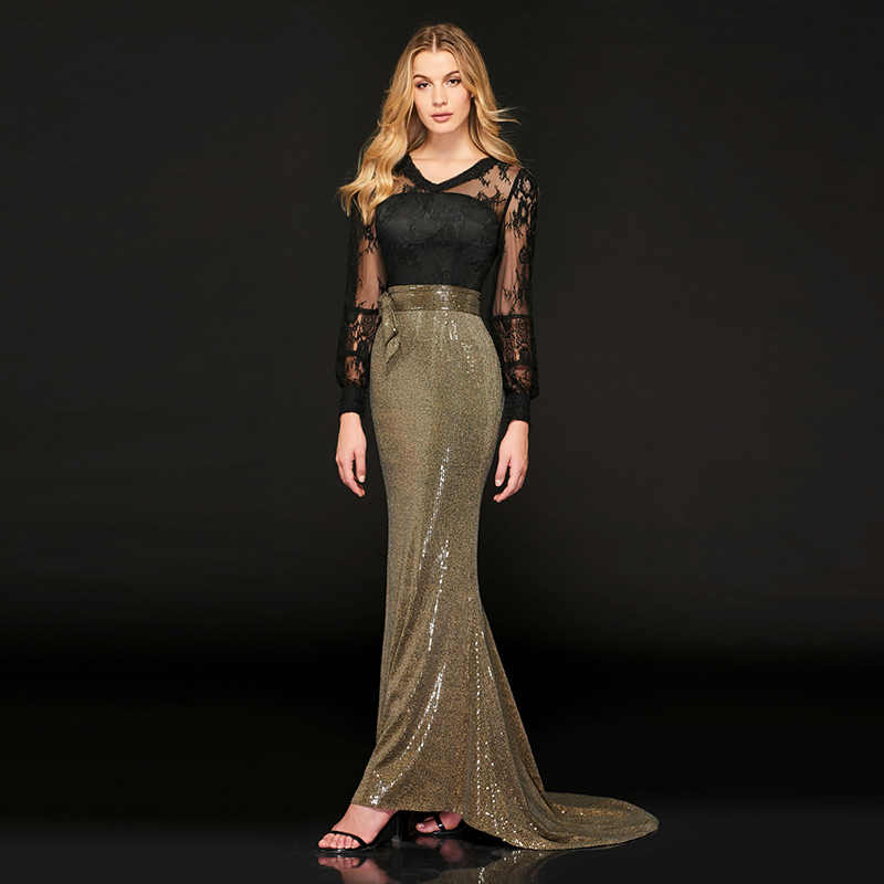 db36ab83ff568 Tanpell long evening dress v neck full sleeves floor length mermaid gown  women custom reflective dress