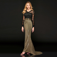 Tanpell sequins long evening dress lace v neck full sleeves floor length mermaid gown women plus customed formal evening dresses
