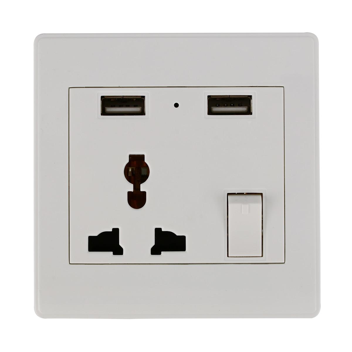 Wall Socket Dual 2 USB Plug Switch Power Supply Plate Universal ...