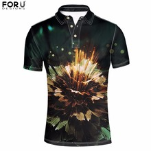 FORUDESIGNS Mens Polo Shirt Short Sleeve Round Collart Summer Floral Printed Men Classic Black Brand Tops Cotton Soft L