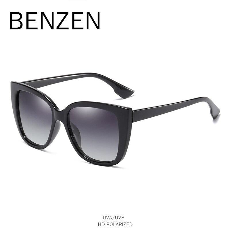 Image 3 - BENZEN Cat Eye Sunglasses Women Vintage Polarized Large Sun Glasses For Driving Retro Ladies Shades Black With Case 6601Womens Sunglasses   -