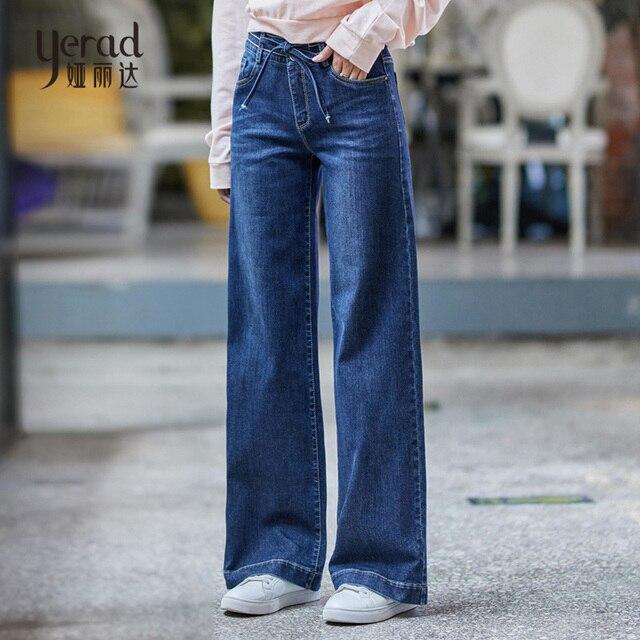 eec28f7a02026 YERAD Women High Waist Wide Leg Jeans Casual Loose Wide Leg Denim Pants  Autumn Fashion Straight