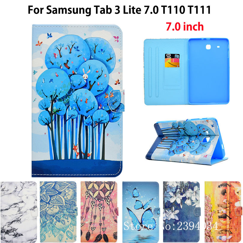 Fashion Painted Flip Case For Samsung Galaxy Tab 3 Lite 7.0 T110 T111 T115 T116 Cover tablet Silicon PU Leather Funda Shell luxury flip stand case for samsung galaxy tab 3 10 1 p5200 p5210 p5220 tablet 10 1 inch pu leather protective cover for tab3