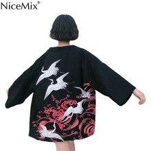 NiceMix 2019 New Korean Fashion Woman Kimono printed Crane kimono Chinese wind restoring ancient ways thin coat sun-protective