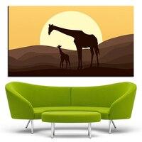 Большой размер печати масляной живописи матери и ребенка жираф стены Картина декора стен Книги по искусству изображение для Гостиная живоп...