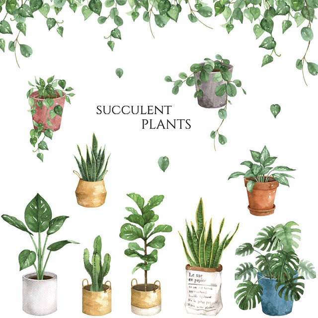 Potted Flower Plants Wall Stickers