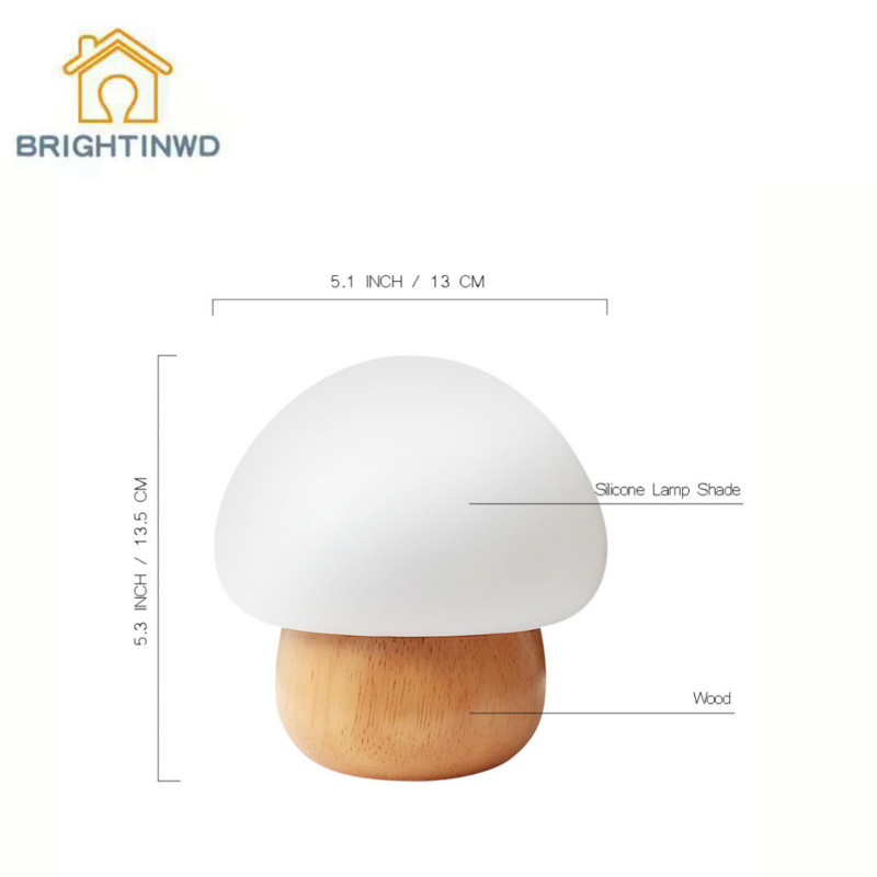 BRIGHTINWD Modern Minimalist Wooden Craft Creative Cute Mushroom Lamp LED Night Light Eye Protection Bed Small Table Lamp