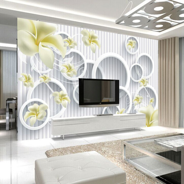TV setting wall mural paper contracted and contemporary wallpaper frangipani seamless non woven sitting room