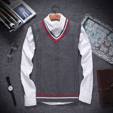 2018 Autumn and Winter Male Fine Cotton Pure Color Man Fashion V-neck Knitted Sweater Vest Mens Leisure Business Sweaters Vests