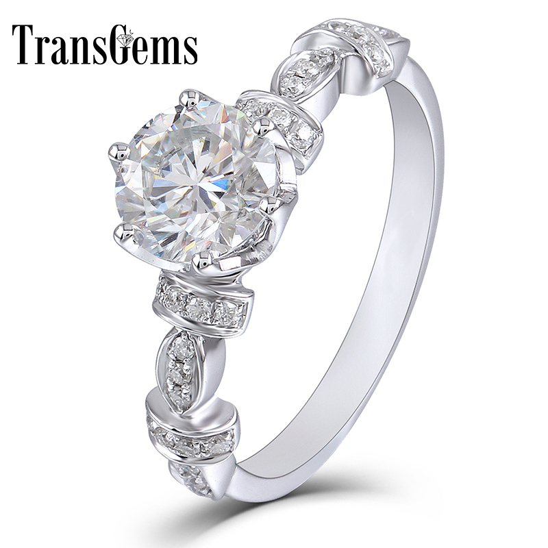 TransGems 14k White Gold Center 1Carat 6 5mm F Color Moissanite Engagement Ring Dailywear Ring With