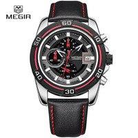 MEGIR Relogio Hot Sport Running Quartz Watch 2015 Man Luxury Masculino Leather Wristwatch Men Watches Chronograph