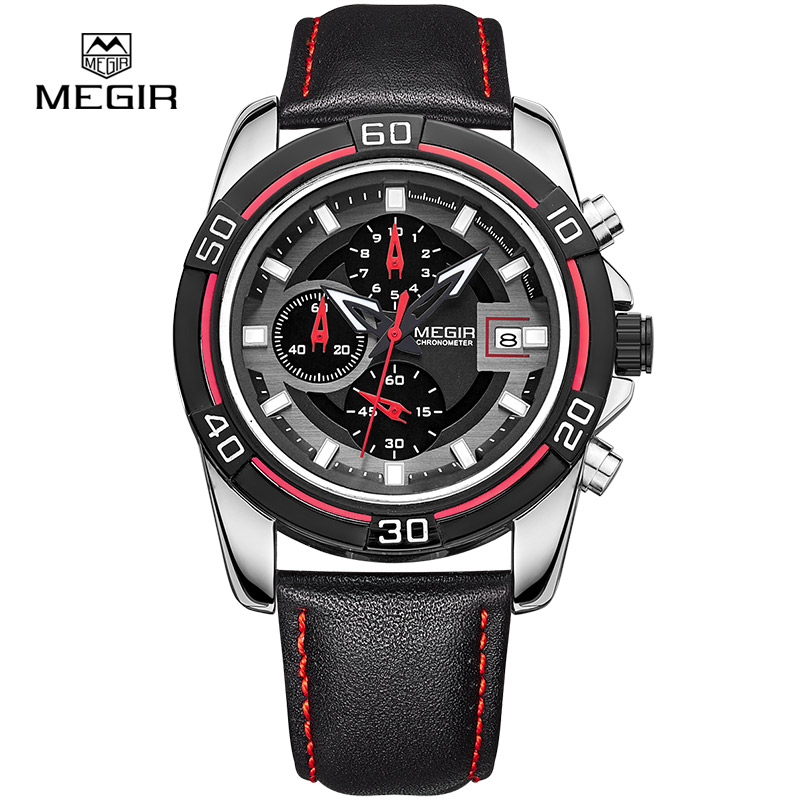 <font><b>MEGIR</b></font> relogio hot sport running quartz watch <font><b>2015</b></font> man luxury masculino leather wristwatch Men Watches Chronograph 6 Hands 2023 image