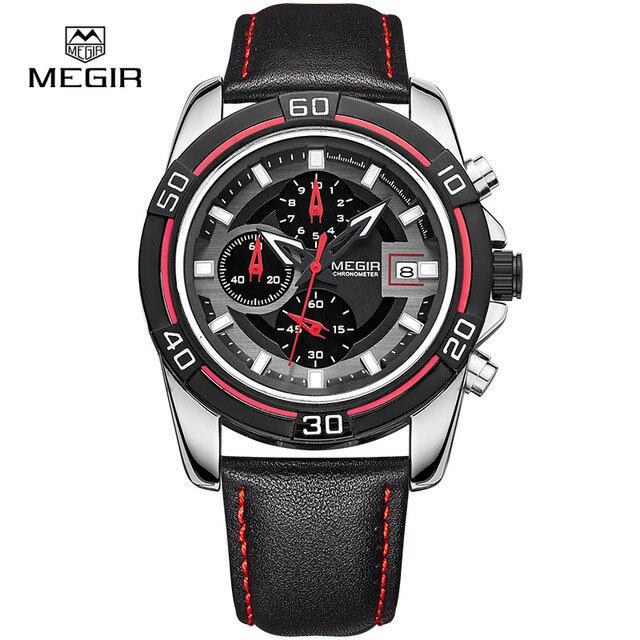 3515ba7b27c MEGIR relogio esporte hot correndo relógio de quartzo 2015 homem da mala de  couro de luxo