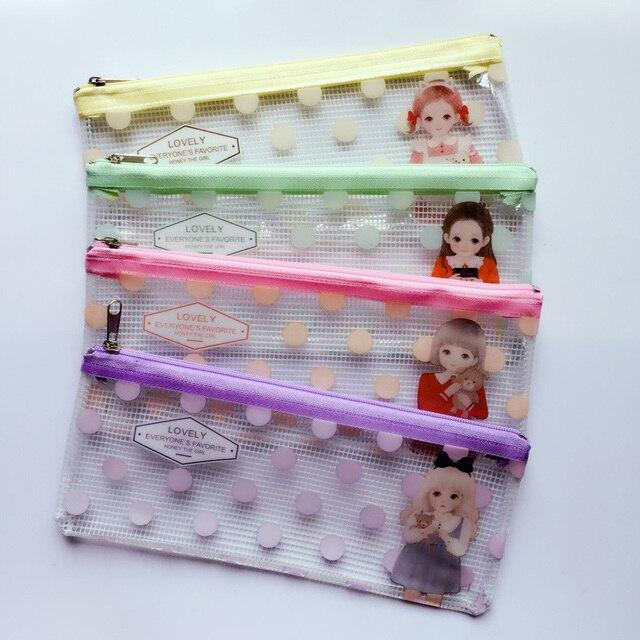 Z46 Cute Lovely Girl B6 Doll Polka Clear Flat Pen Pencil Case Cosmetic  Storage School Office